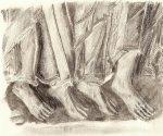 pies de los apóstoles copiados de un bajorrelieve del Monasterio de Silos (Camino a Emaús) carboncillo